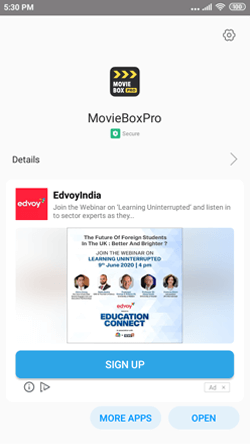 Moviebox on Android Smartphone