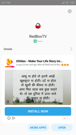Install Redbox TV on Android Smarphones